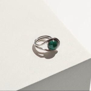 Jewelry - NWT Pamela Love Large Lasso Ring Silver Malachite